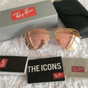 Ray-Ban 3025 Metal Mirrored Pink Sunglasses